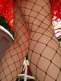 A woman wearing fence net stockings