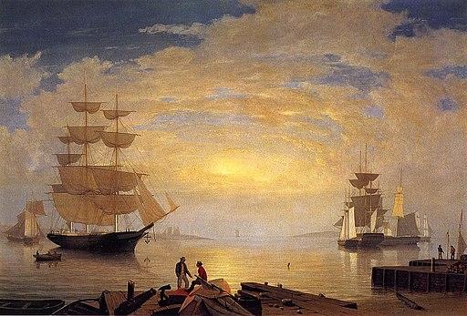 Fitz hugh lane Gloucester Harbor at Sunrise