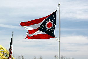 Flag of Ohio - An Ohio flag flies above Sawyer Point in Cincinnati.