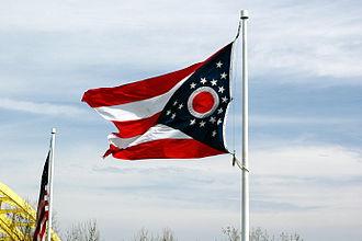 Flag of Ohio - An Ohio flag flies above Sawyer Point in Cincinnati.