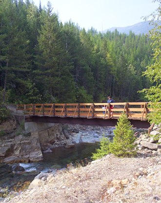 Flathead National Forest - A trail bridge over Bear Creek