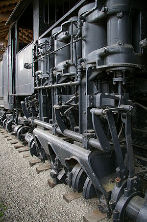 Cylinder (locomotive) - The cylinders on a Shay locomotive.