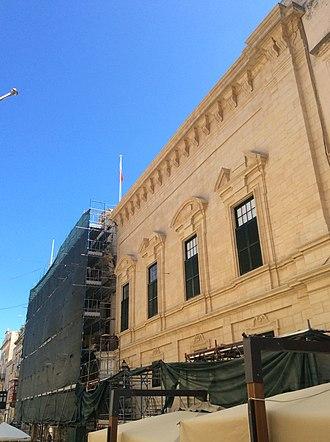 Castellania (Valletta) - Restoration in process in September 2017
