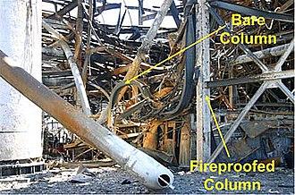 Formosa Plastics propylene explosion - Investigation photo showing the destruction of the non-fireproofed columns vs. columns that were fireproofed.