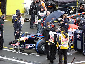 2011 Hungarian Grand Prix - The race started under wet conditions with all the drivers starting on intermediate tyres