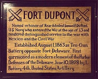 Fort DuPont - Fort DuPont Historical Sign.