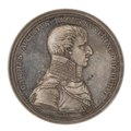 Framsida av medalj med bild av Karl August samt text - Skoklosters slott - 99570.tif