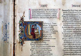 Francesco Berlinghieri - Illuminated letter in an edition of his Geographia (Accademia della Crusca library)