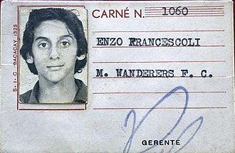 Enzo Francescoli - Francescoli's identity card at Montevideo Wanderers