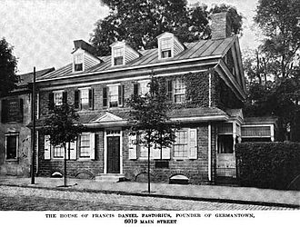Francis Daniel Pastorius - Home of Francis Daniel Pastorius in Germantown, as it appeared circa 1919