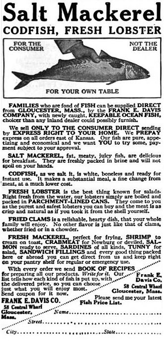 Mail order - The Outlook, American magazine advertisement from 1916 offering mail delivery of fish and seafood.