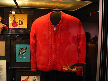 Hand-made sweater worn by Fred Rogers, on disp...