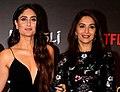 Freida Pinto, Kareena Kapoor Khan and Madhuri Dixit at press conference for Mowgli (cropped).jpg