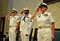 From left, U.S. Navy Capt. John Rinko, the commodore of Task Force 63 and the commodore of Military Sealift Command Europe and Africa; Air Traffic Controller 1st Class Charles Duckworth; and Fleet Master Chief 131008-N-UE250-041.jpg