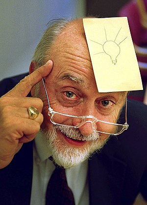 Arthur Fry - Fry with a Post-It note (his invention) on his forehead