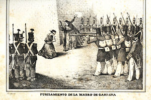 Ramón Cabrera y Griñó - The execution of Cabrera's mother, Maria Griñó 1836 by firing squad.