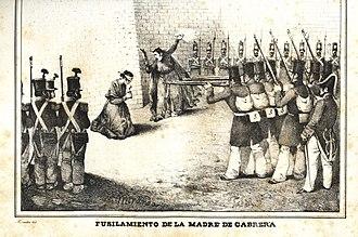 Ramón Cabrera y Griñó - The execution of Cabrera's mother, Maria Griñó 1836 by firing squad.
