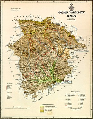 Gömör és Kishont County - Map of Gömör-Kishont, 1891.