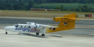 Britten-Norman Trislander - G-RBCI operated By Aurigny parked at Guernsey Airport