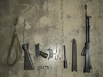 Heckler & Koch G3 - Disassembled G3A3 rifle showing its modular design