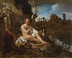 Gabriel Metsu (1629-1667), A Hunter Getting Dressed after Bathing, c. 1654-1656. Oil on panel.jpg