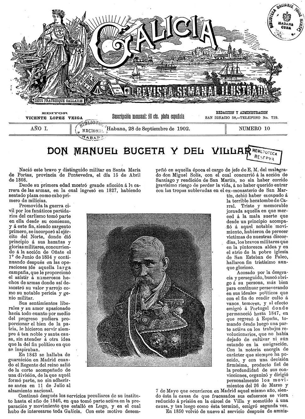 Galicia. Revista semanal ilustrada, número 10. La Habana. 28 de septiembre de 1902