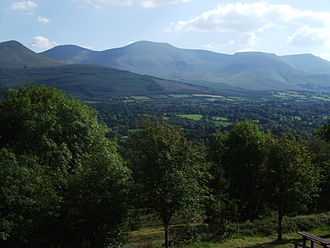 Galtymore - Galty Mountain range seen from the north, with the summit of Galtymore at its centre