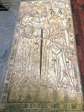 Ledger stone - Geddington Church. Richard and Isabel Tresham 1433