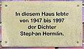 Gedenktafel Hermann-Hesse-Str 39 (Nieds) Stephan Hermlin.jpg
