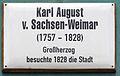 Gedenktafel Markt 22 (Wittenberg) Karl August von Sachsen-Weimar.jpg