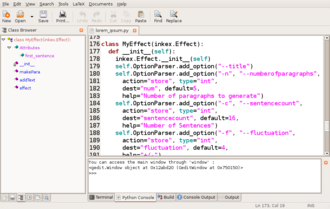 Class browser - Screenshot of Gedit with Python, LaTeX and Class Browser extensions, displaying Inkscape's lorem ipsum extension.