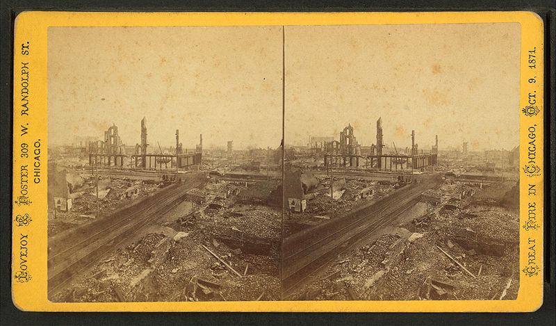 General view of the ruins from Tribune Building, Booksellers Row in the centre, by Lovejoy & Foster