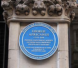 Photo of George Africanus blue plaque