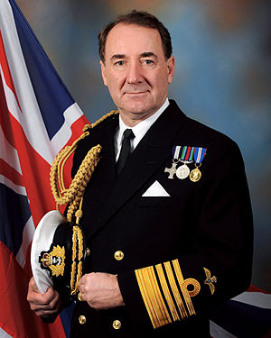 Uniforms of the Royal Navy - Blue No. 1B dress (with aiguilette) worn by Sir George Zambellas.