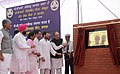 Ghulam Nabi Azad unveiling the plaque to lay the foundation stone of the PGI Satellite Centre, in Sangrur, Punjab. The Minister of State for Health & Family Welfare, Smt. Santosh Chowdhary, the Member of Parliament.jpg