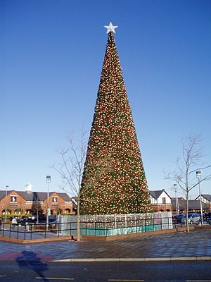 Tree-topper - A Christmas tree crowned with a star tree-topper in Little Stanney, Cheshire, in England