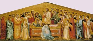 Giotto. The Dead of the Virgin. c. 1310. 179x75cm. Gemaldegalerie, Berlin.jpg
