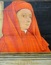 Giotto - Tableau représentant cinq maîtres de la Renaissance florentine (début XVIe siècle?). JPG