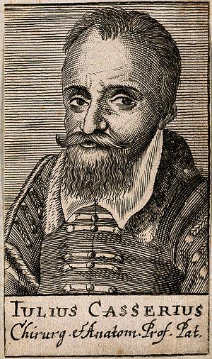 Giulio Cesare Casseri - Image: Giulio Casserio. Line engraving, 1688. Wellcome V0001025