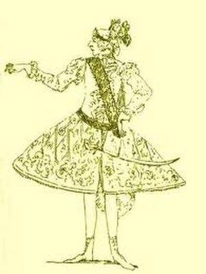 Atalanta (opera) - Caricature of Gizziello, creator of the role of Meleagro