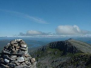 Gleouraich - Gleouraich's summit cairn, looking towards Spidean Mialach