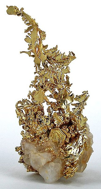 Mother lode - Crystalline gold specimen from the California Mother Lode, probably from Tuolumne County (5.3 x 2.7 x 2.4 cm).
