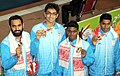 Gold medal winners of India Men's, 4x100m Medley in Swimming, at the 12th South Asian Games-2016, in Guwahati on February 10, 2016.jpg