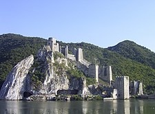 Golubac fortress overlooking the Danube river