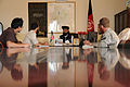 Gov. Musa Khan of Ghazni province, Afghanistan, speaks to U.S. Department of State and Ghazni Provincial Reconstruction Team (PRT) members about his vision for the province and future events Aug. 21, 2010 100821-F-CG264-001.jpg