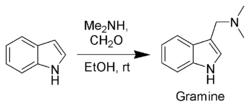 Synthesis of Gramine from indole