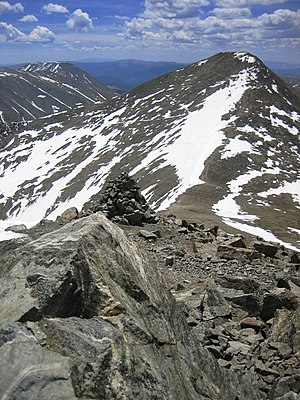 Continental Divide of the Americas - Grays Peak, here in mid-June 2007, at 14,278 ft it is the highest point of the Continental Divide in North America.