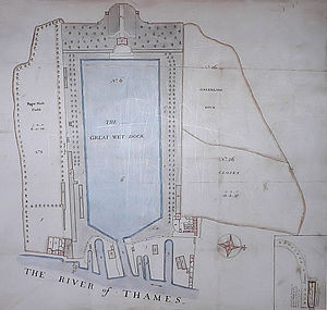 Greenland Dock - Manuscript plan of the Greenland Dock, 1763