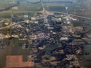 Decatur County, Indiana - Greensburg from the air, looking north