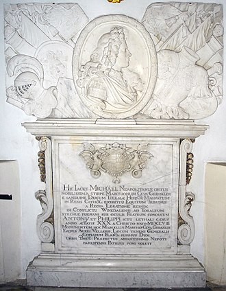 Battle of Wijnendale - Tomb in the Sint-Walburga Church in Bruges of Michael Ceva Grimaldi, a Spanish Army officer from Naples, who was killed in the battle, aged 30